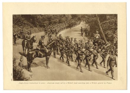 1918 WW1 Print AMERICAN TROOPS MARCHING FRANCE British Home Defence Guard Coast